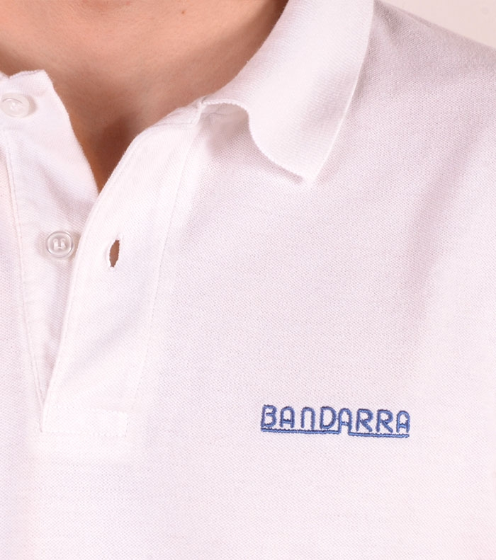 Polo Bandarra Slim FIt Blanco / Azul Royal
